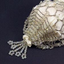 True Vintage Victorian Drawstring Reticule Satin Cut Steel Beads Glass Crystals