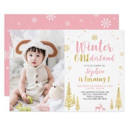 Winter Onederland, Girl 1st Photo Birthday Invitat