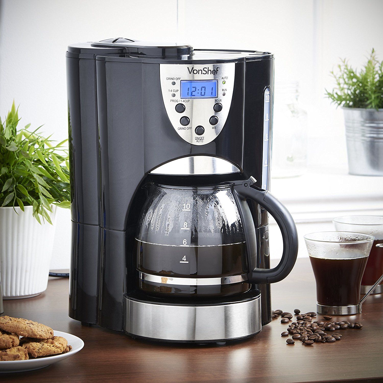 Vonshef Digital Filter Coffee Maker With Integrated Grinder And Reusable 1000w Programmable