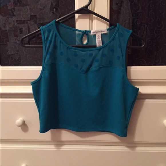 Mesh crop top Gorgeous turquoise crop top with mesh at the top. Only worn one time! Button clasp in the back Forever 21 Tops Crop Tops