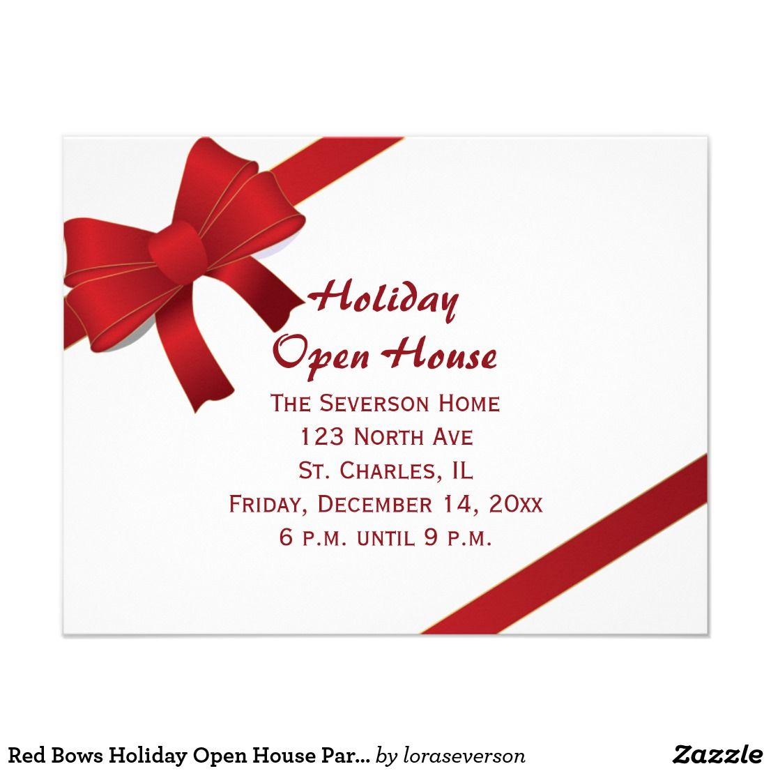 Red Bows Holiday Open House Party Invitation Card Invite guests to a ...