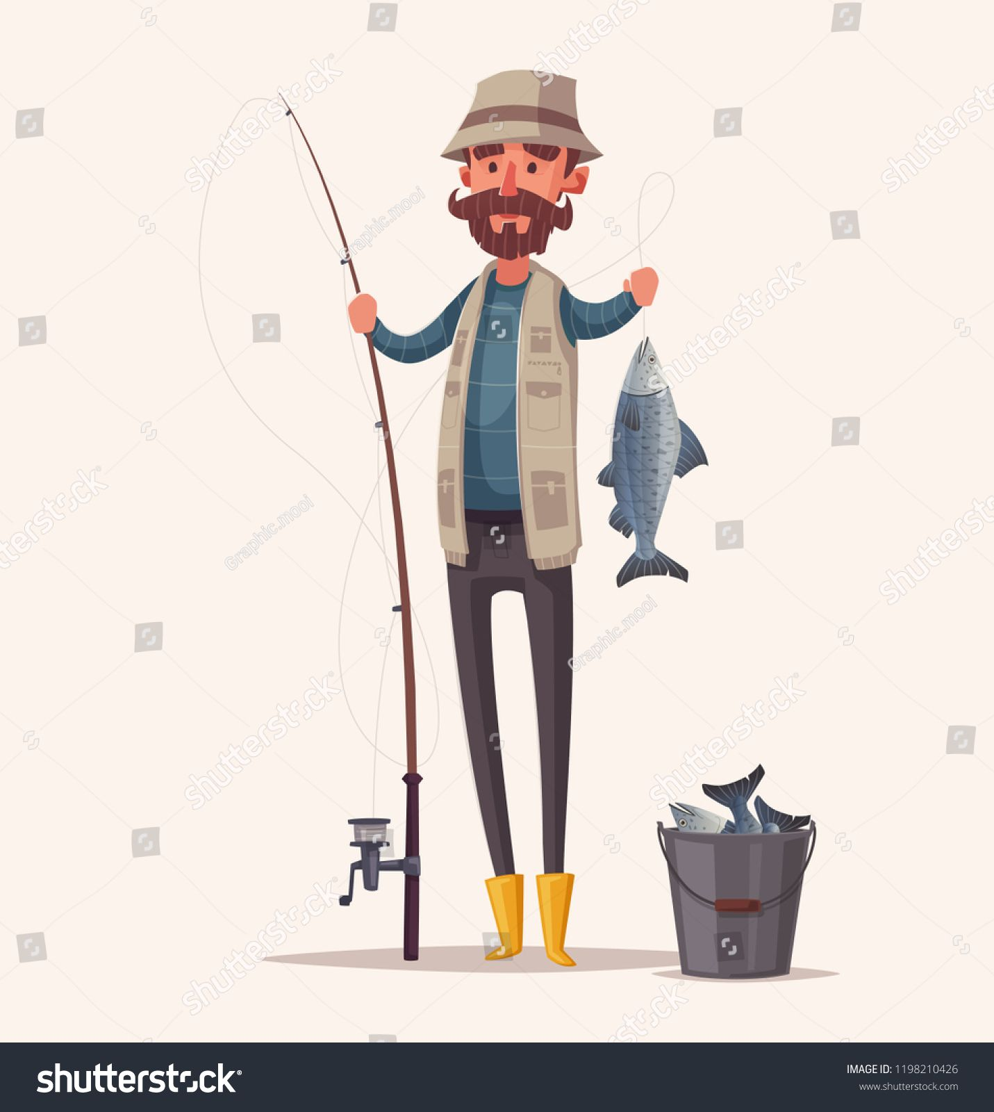 Fisherman With Fishing Rod Fishing Concept Cartoon Vector Illustration Catch A Fish Ad Affiliate Fishing Concept Fish Illustration Cartoon Boy Fishing
