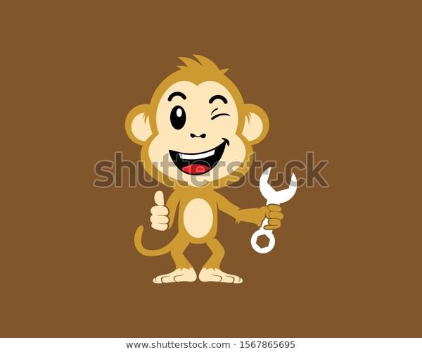 Monkey Wrench Represent Smart Repair Stock Vector (Royalty