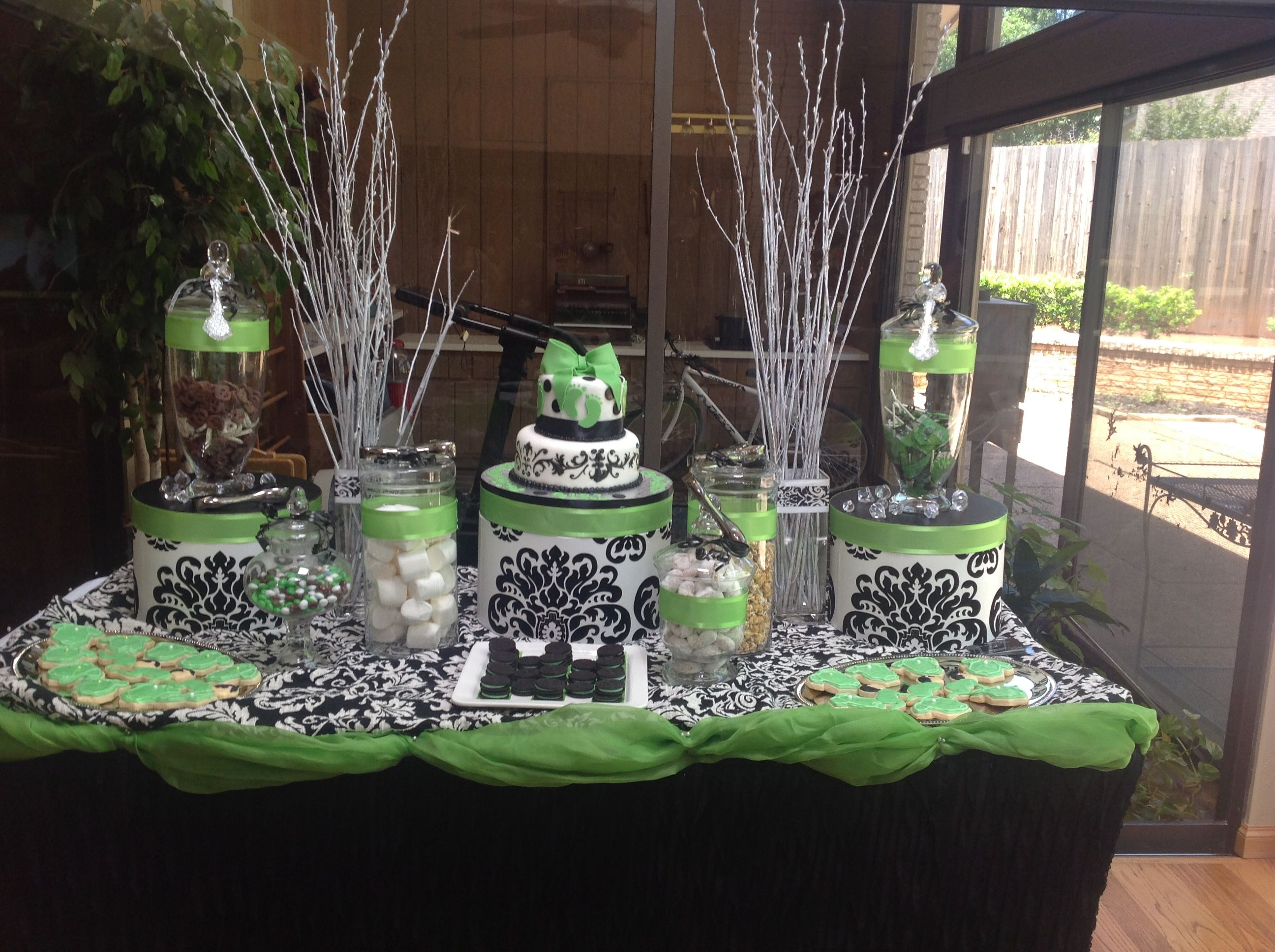Lime green, black & white damask candy and dessert buffet for a baby girl shower.
