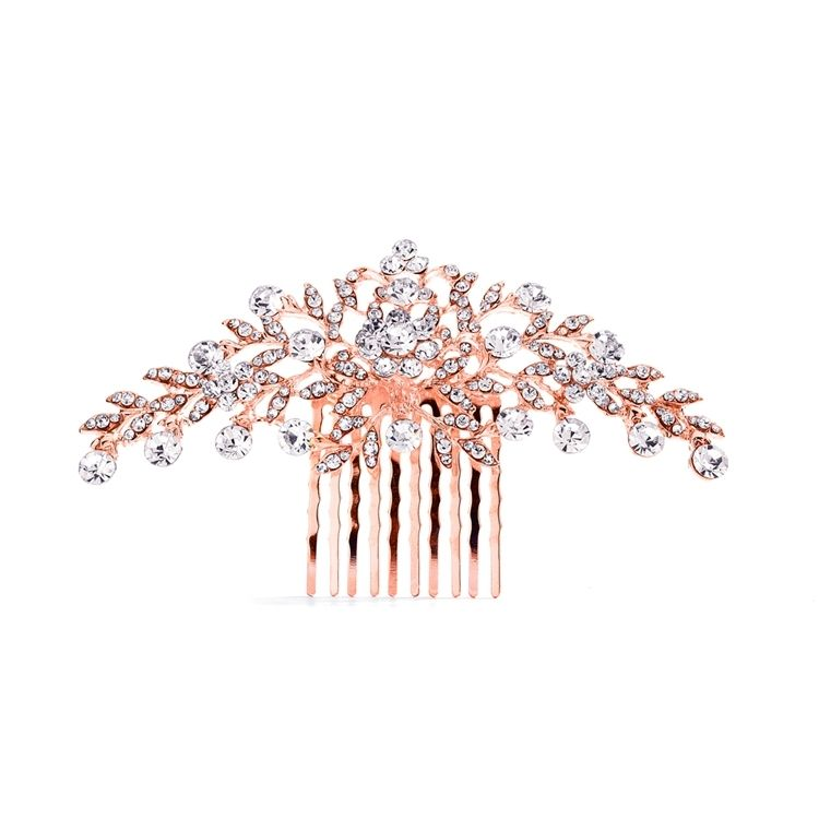 Rose Gold Crystal Wedding Comb with Shimmering Leaves