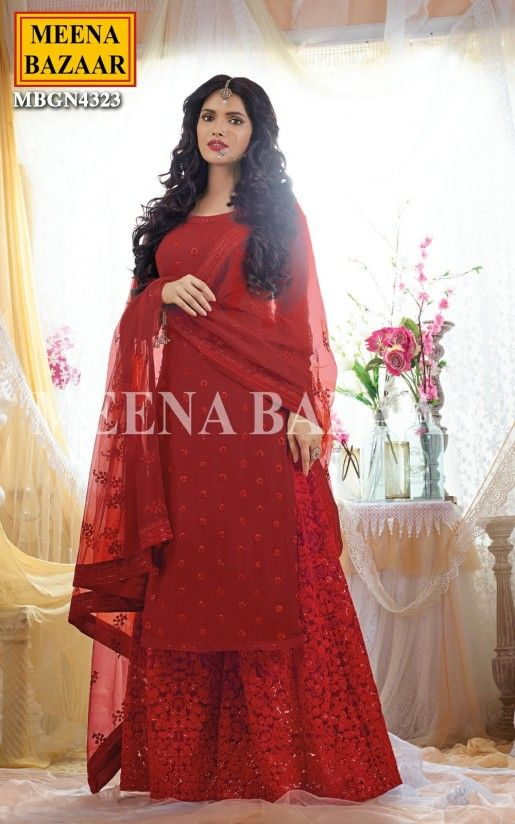 d76ce2335d Carnell Red Embroidered Sharara Online Shopping For Ethnic Wear: Buy  Designer Sarees, Lehengas, Anarkali suits, Salwar Suits,Kurtis,Gowns –  Meenabazaar.com