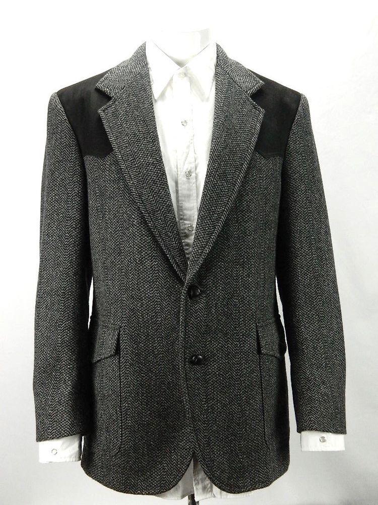 Pendleton Mens Black Tweed Sports Coat Cowboy Western Two