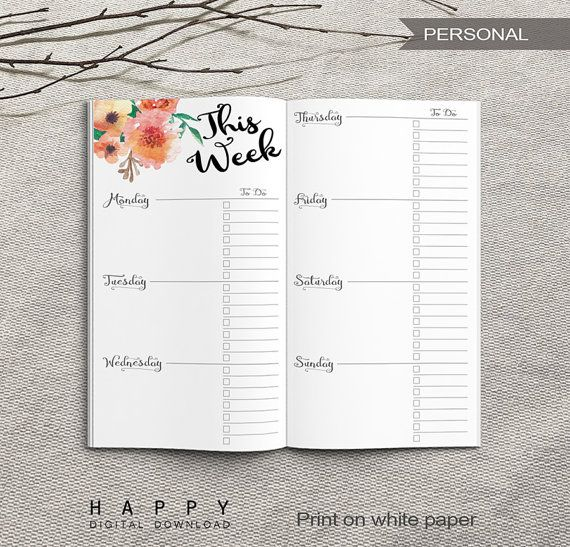 Printable Personal Weekly Planner Insert PDF files Personal - white paper format