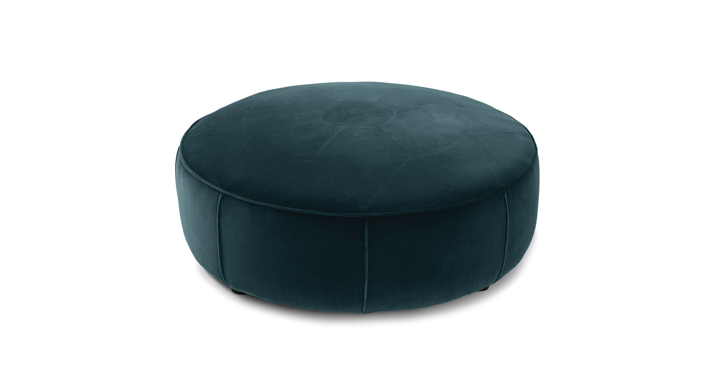 Blue Velvet Tufted Ottoman - Round | Article Orbis Modern Furniture