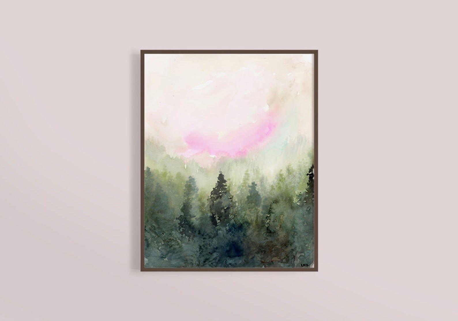 Misty Forest Art Print Landscape Art Misty Mountain Fog Watercolor Landscape Abstract Landscape Modern Art Print Contemporary Art In 2020 Modern Art Prints Forest Art Landscape Art