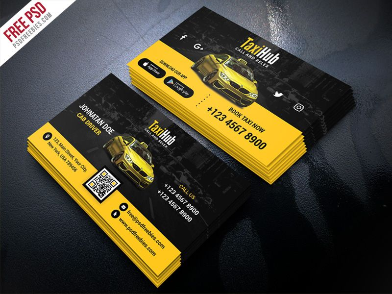 Free Psd Cab Taxi Services Business Card Template