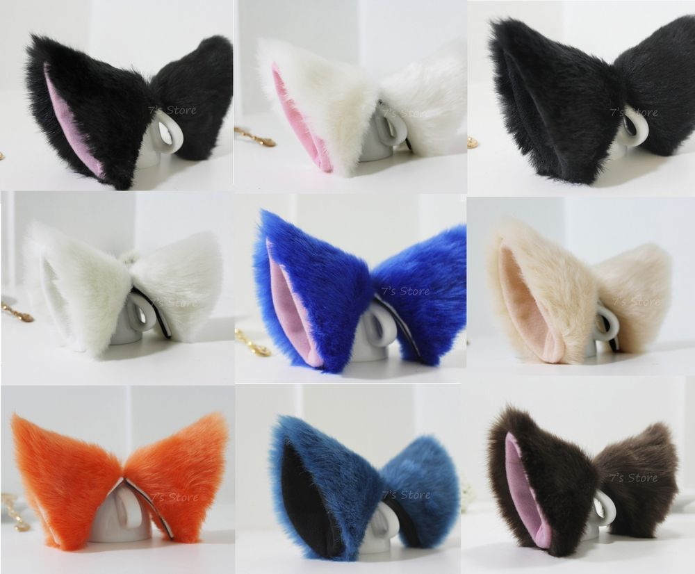 Color of cats fur - Cat Fox Long Fur Ears Anime Neko Cosplay Party Costume Hair Clip Multi Color