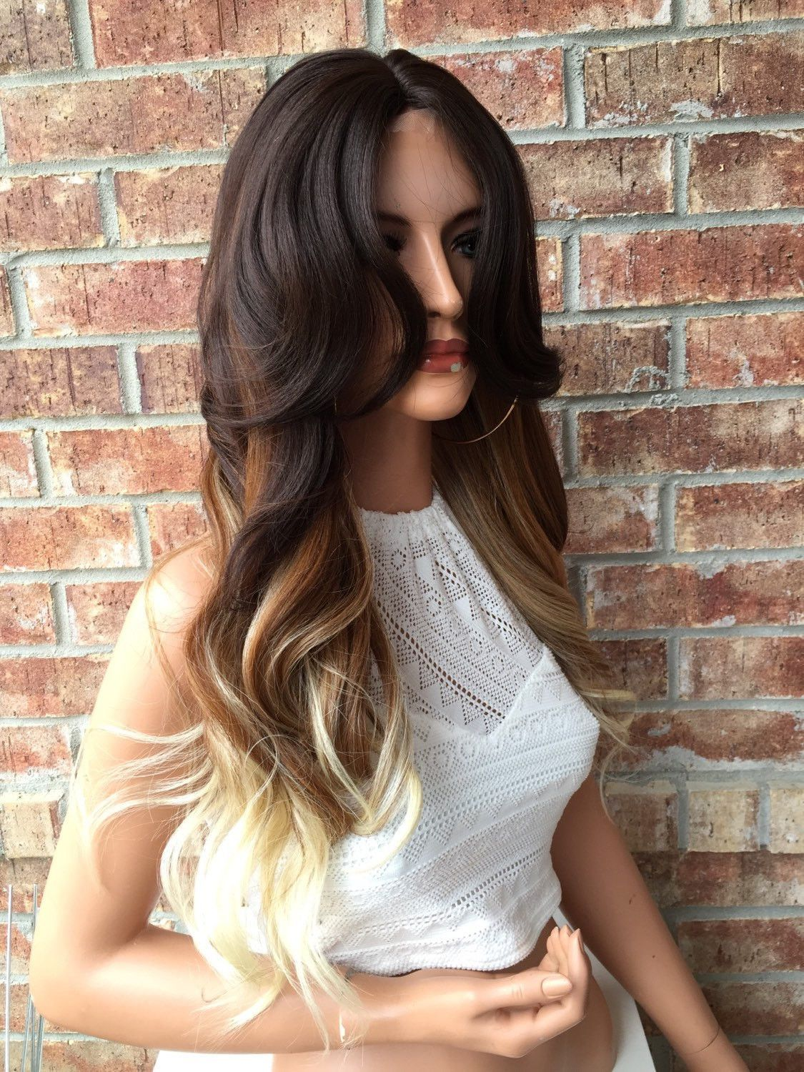 Skyla ombre brown blonde human hair blend lace part wig