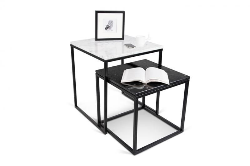 Prairie A Nest Of 2 Tables With Black Marble Tops And Steel Legs