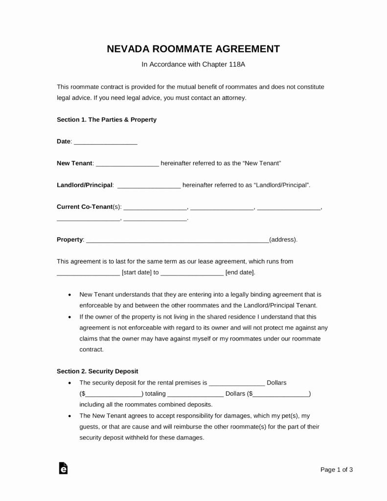 Living Agreement Template Luxury Free Nevada Roommate Agreement Template Pdf Roommate Agreement Rental Agreement Templates Meeting Agenda Template