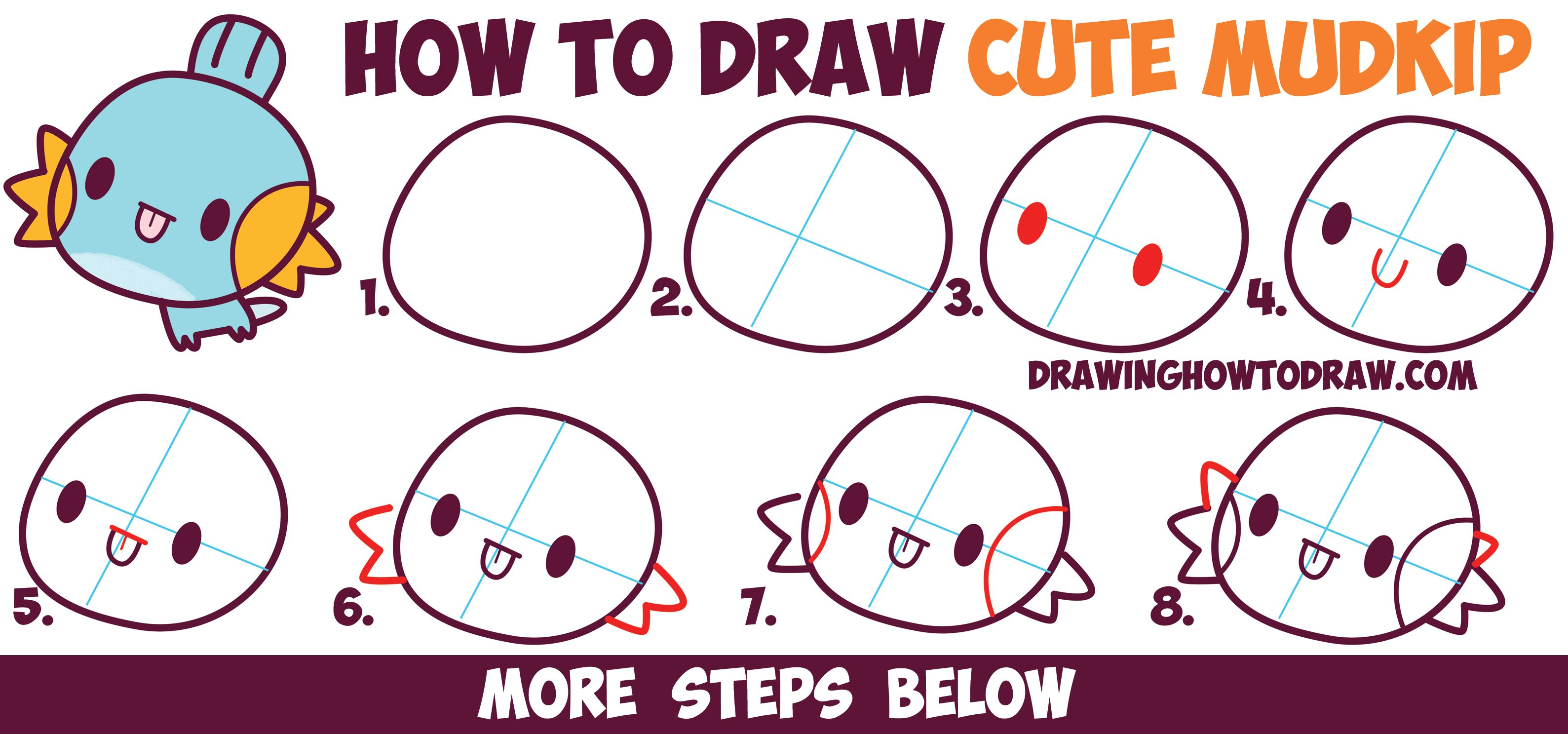 How To Draw MudKip From Pokemon Cute Chibi Kawaii Easy Step By Drawing Tutorial For Kids