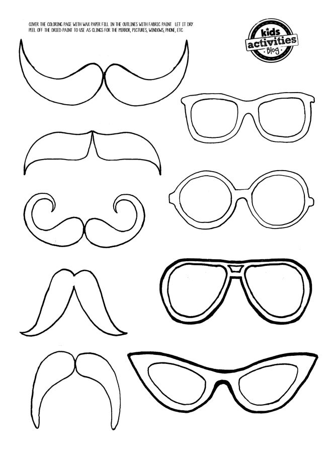 Mustache And Eye Glasses Mirror Clings In 2020 Felt Patterns Coloring Pages Eye Glasses