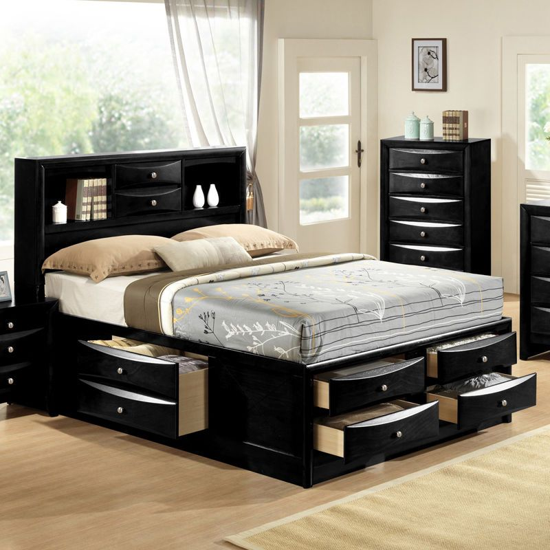 Black Emily Bookcase Headboard Queen King Captains Storage Bed w ...