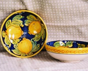 Pasta Soup Bowl Bluelemon Italian Pottery Hand Painted Pottery Bowl