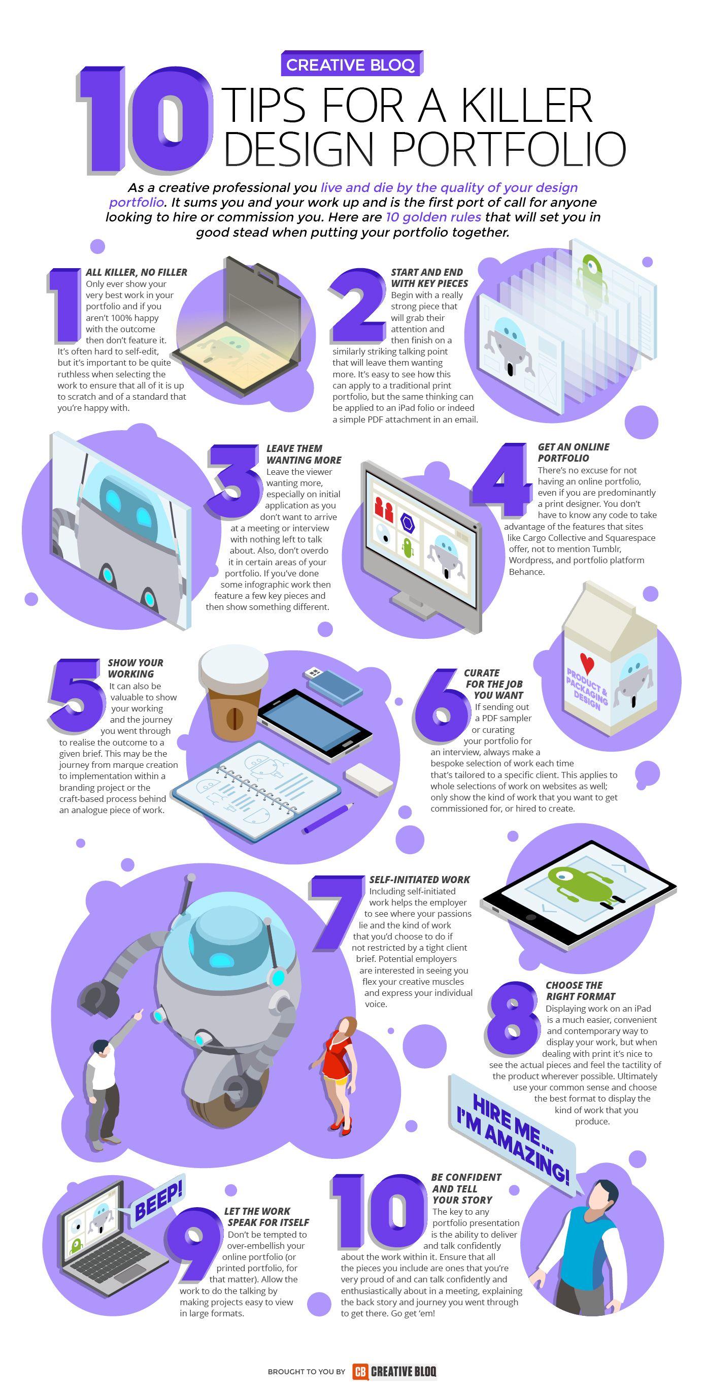 10 Tips For A Killer Design Portfolio - #infographic