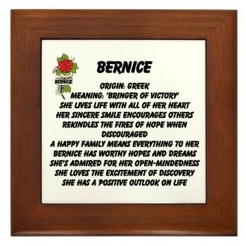 Bernice Name Meaning Framed Tile | Names & Meanings | Pinterest