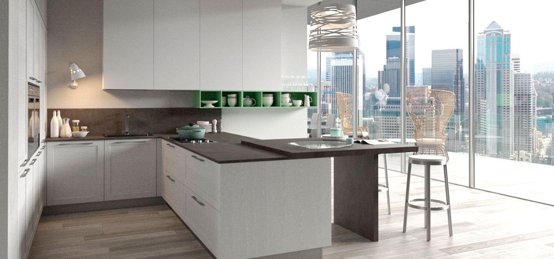 Cucina Moderna - Frame Finitura Bianco Time e Frassino Lione ...
