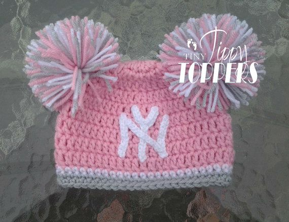 a4b94a5d0c3 Crocheted NEW YORK YANKEES ny Hat Cap beanie baby girl ears or pom ...