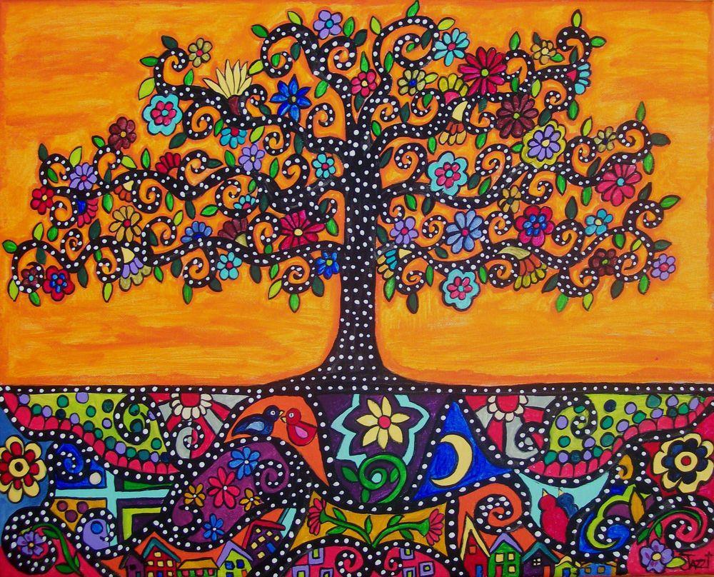 Mexican Folk Art Orange Tree Of Life Eternal Roots Original