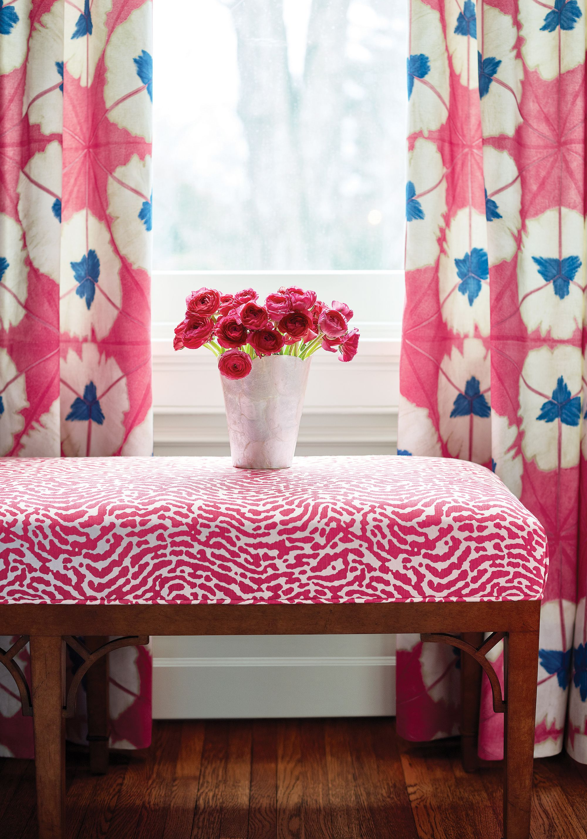 Parker Bench In St. Croix Printed Fabric In Pink From Thibaut Fine Furniture