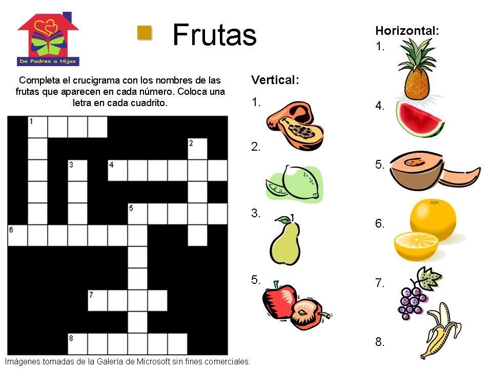 Crucigrama para niños sobre las frutas #Juego #Educacion ...