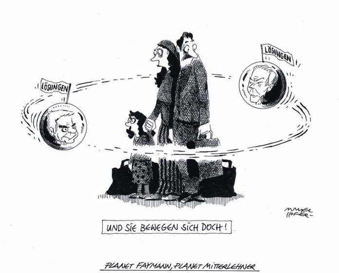 """OÖN-Karikatur vom 1. August 2015: """"Planet Faymann, Planet Mitterlehner"""" Mehr Karikaturen auf: http://www.nachrichten.at/nachrichten/karikatur/ (Bild: Mayrhofer)"""