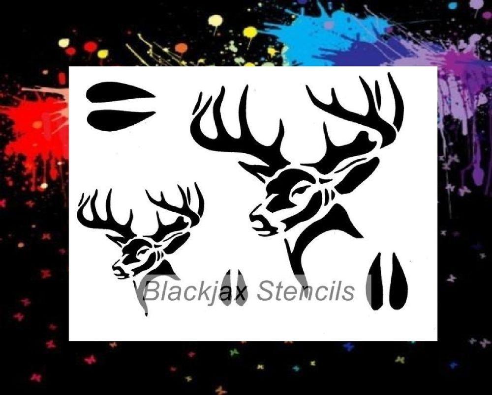 Buck Set 01 Airbrush Stencil,Template