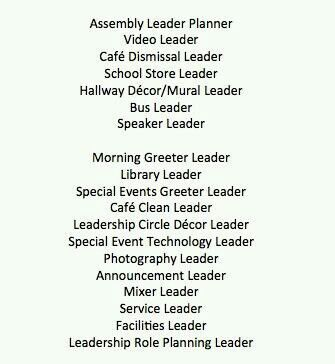 The Leader in Me examples of leadership positions for kids Math