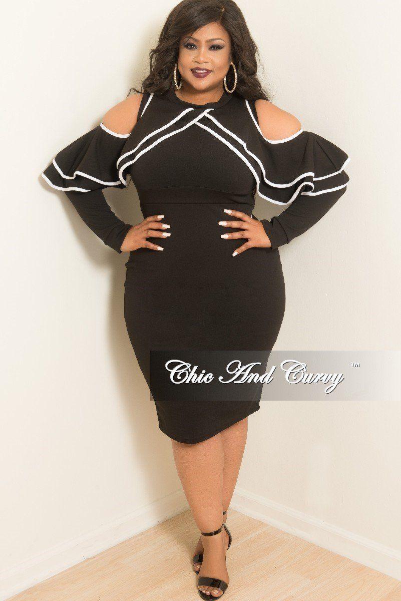 e42678ce4e New Plus Size Cold Shoulder Ruffle BodyCon Dress in Black with White Trim