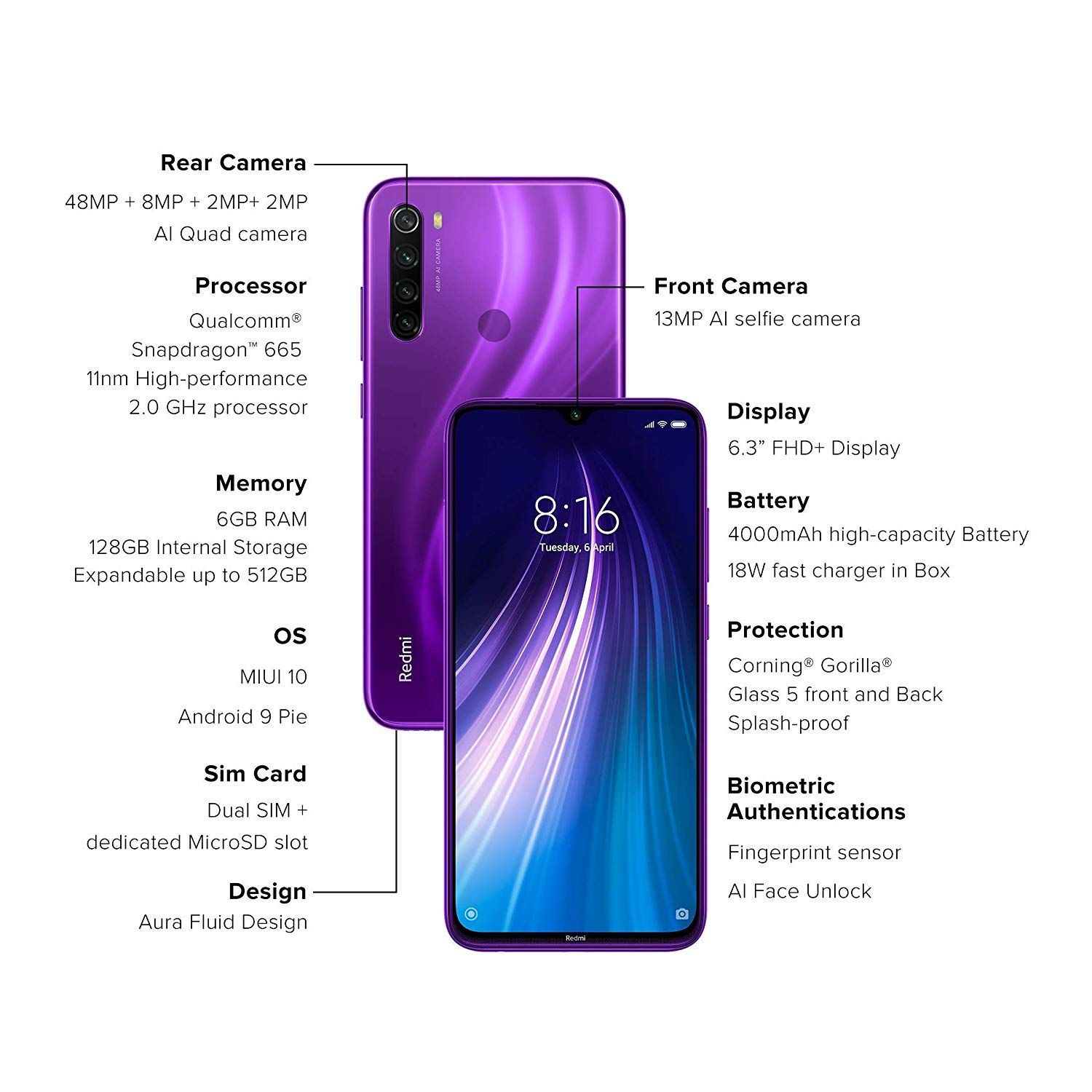 Redmi Note 8 Cosmic Purple 6gb Ram 128gb Storage Phone Note 8 Apple Mobile Phones