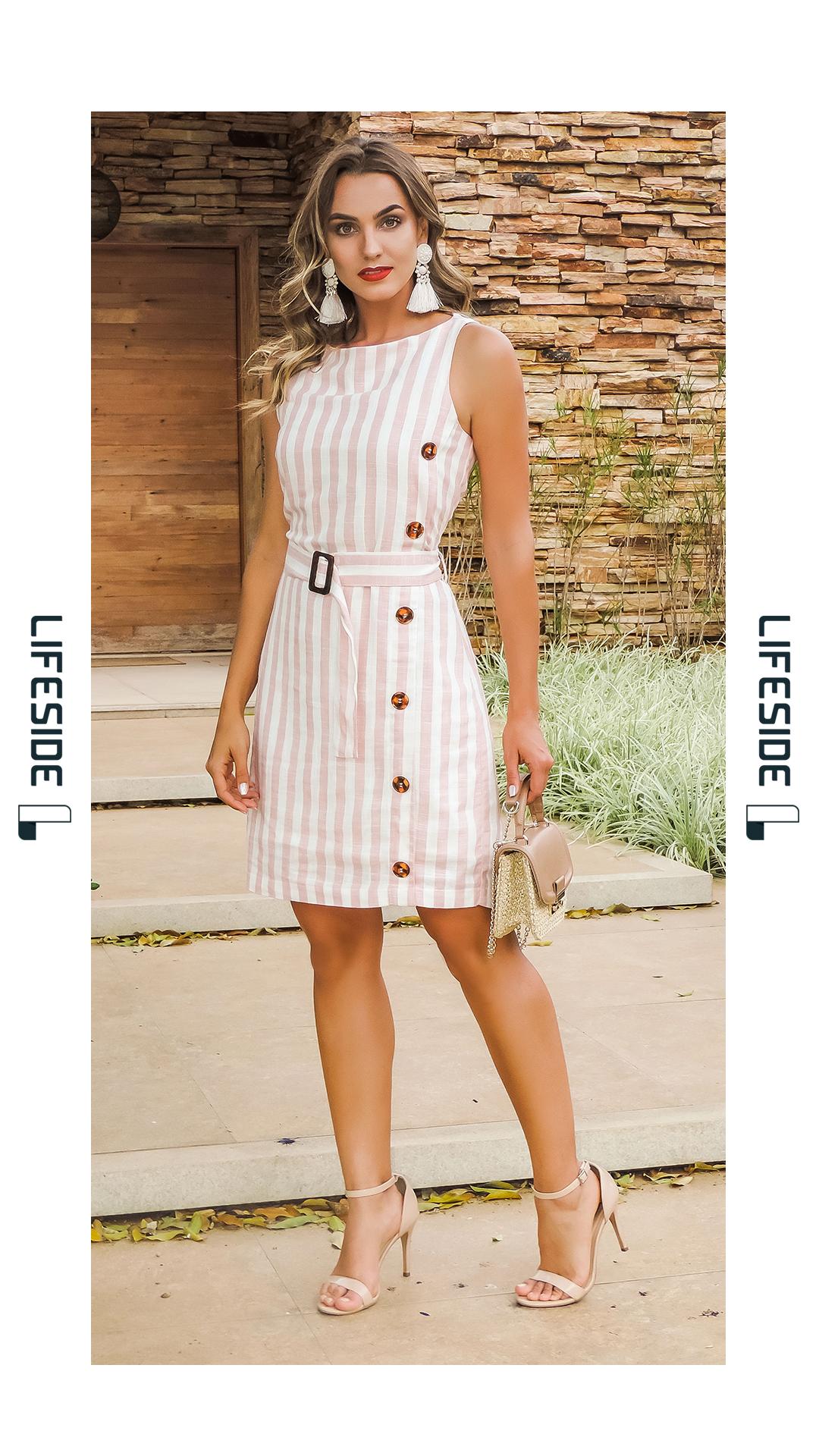 6bf159946 LIFESIDE | Moda Feminina Primavera 2019. Vestido em linho listrado. Detalhe  da fivela e botões tartaruga. #Fashion #ModaFeminina #LookDoDia #Looks ...