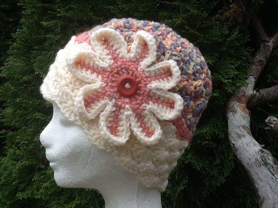 Zimná hačkovaná čiapka s kvetom | Detské hačkované čiapočky a čiapky ...