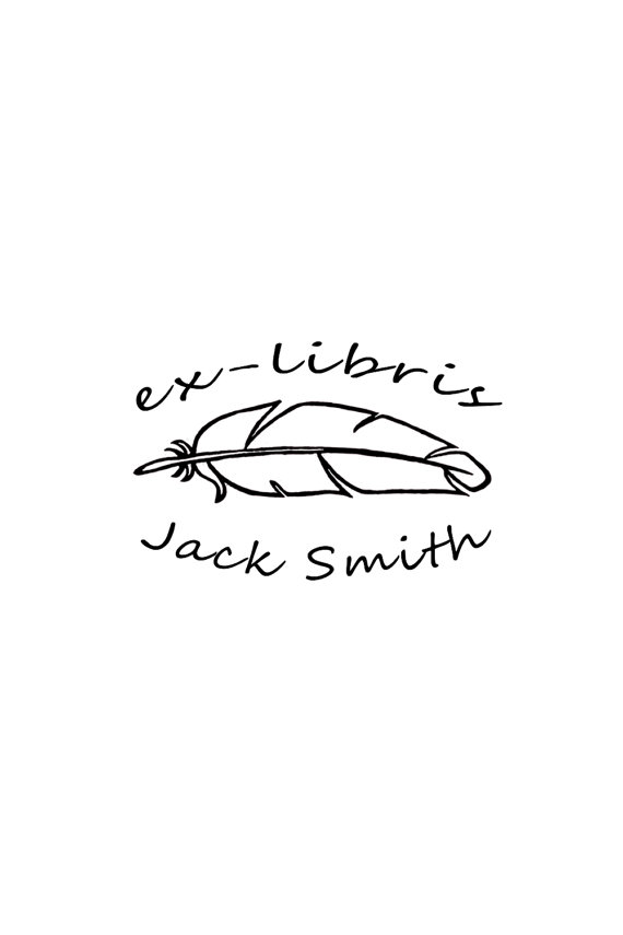 Feather ex-libris stamp personalized name stamp by WoodlandTale - stamp template