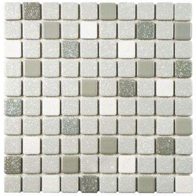 Crystalline Square Grey 11 3 4 In X 11 3 4 In X 5 Mm Porcelain Mosaic Tile Porcelain Mosaic Porcelain Mosaic Tile Mosaic Flooring