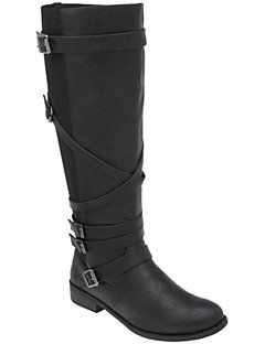 Unique riding boot gives your look a little edge wrapped with five buckled straps. Elastic side panels offer a comfortable wide calf fit with side zipper for easy entry. Available in wide widths.