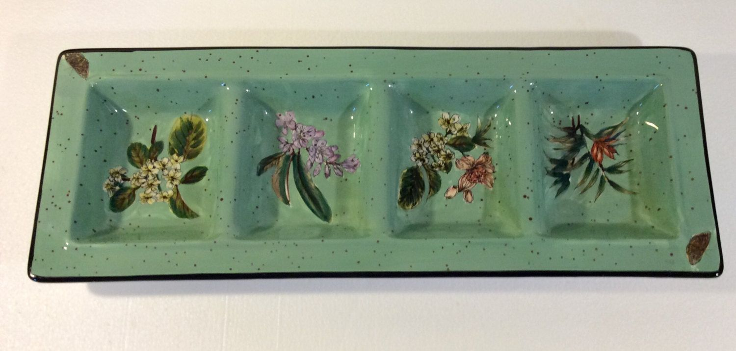 Certified International CIC Large Rectangular 4 Compartment Relish Condiment Tray Flowers Butterflies Green Dinnerware Excellent Condition by libertyhallgirl on Etsy $29.99