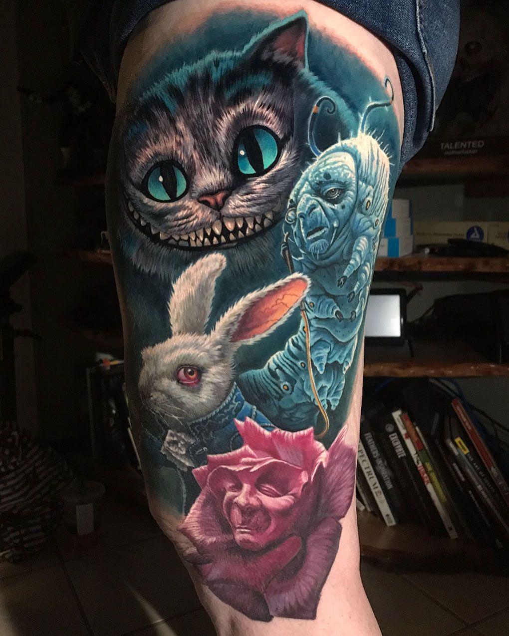 Alice in Wonderland Thigh Tattoo Wonderland tattoo