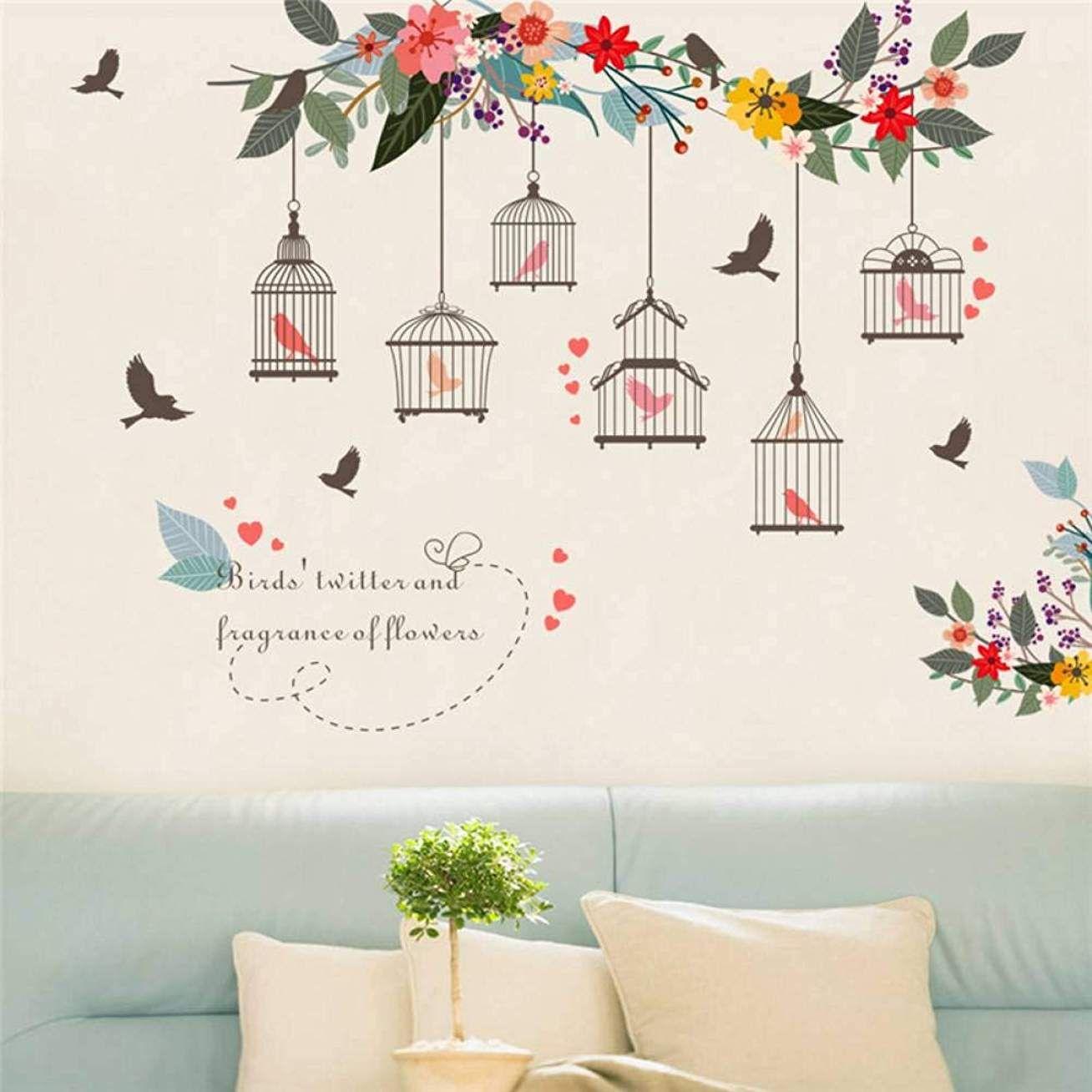 Stickers Pour Fenetre Chambre lmwvop cage À oiseaux autocollant mural stickers muraux pour