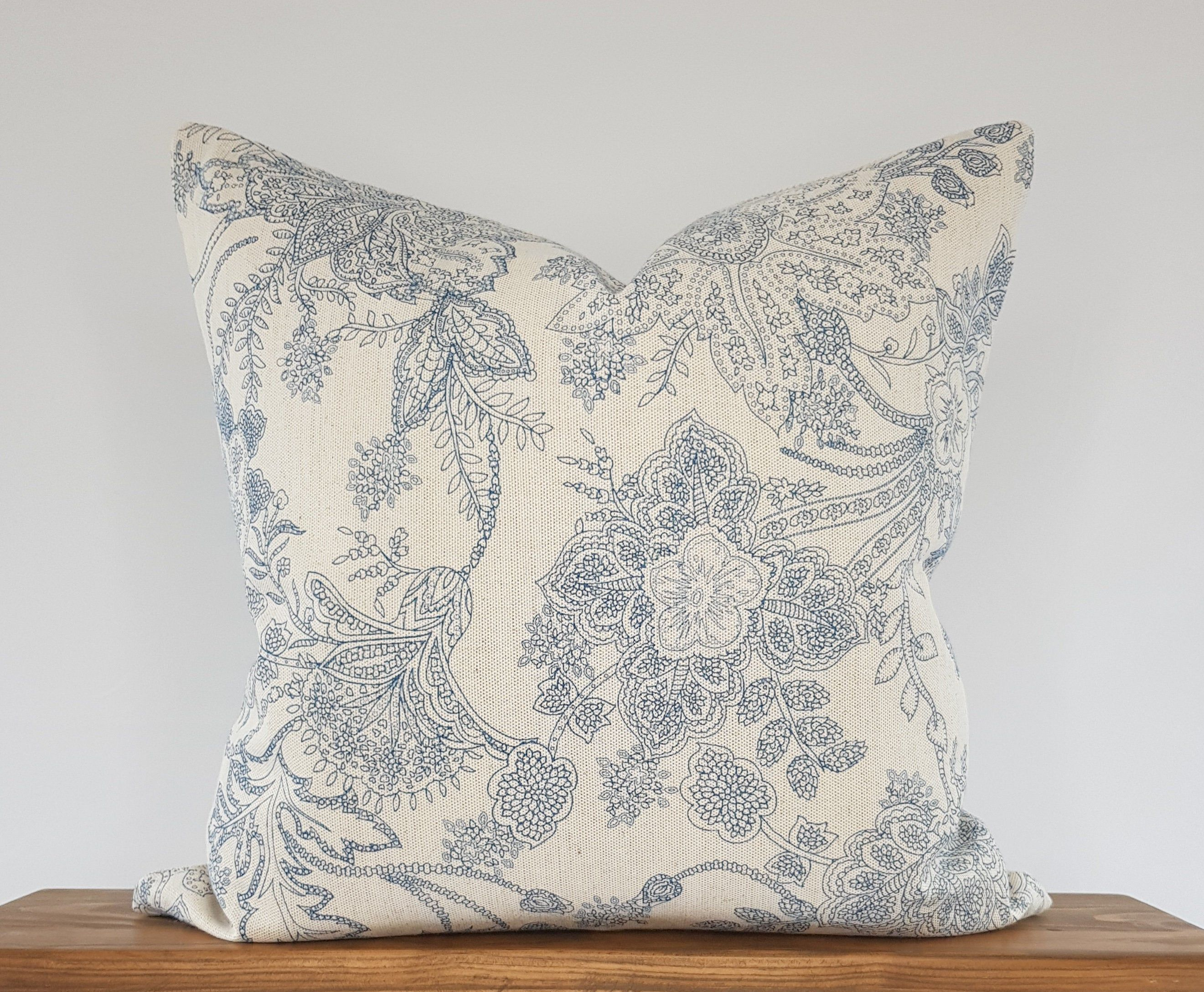 french farmhouse floral linen cushion