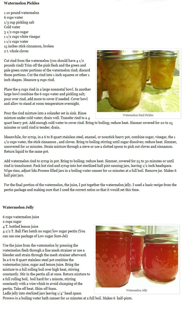 3 main watermelon canning recipes
