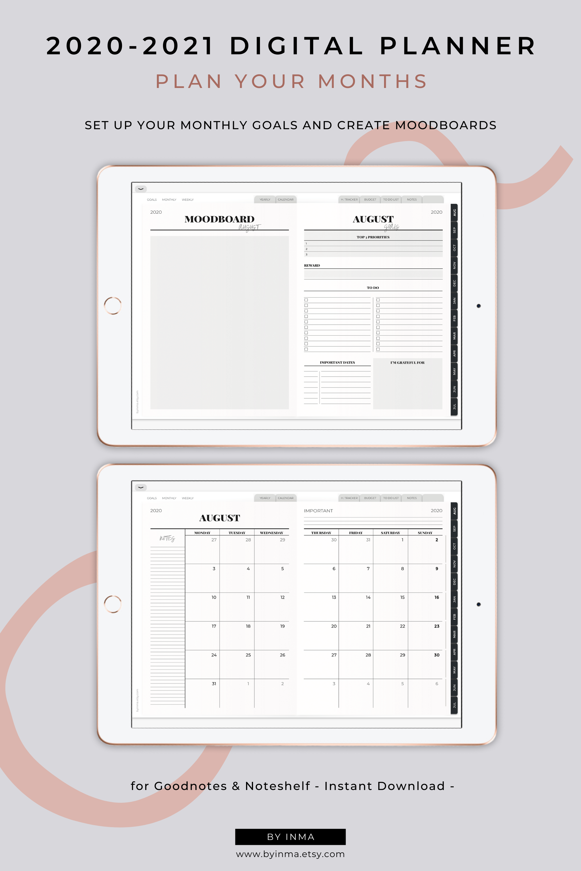 Digital Planner 2020-2021, Goodnotes academic planner, Minimalist weekly planner iPad with inspirational quotes, Noteshelf planner