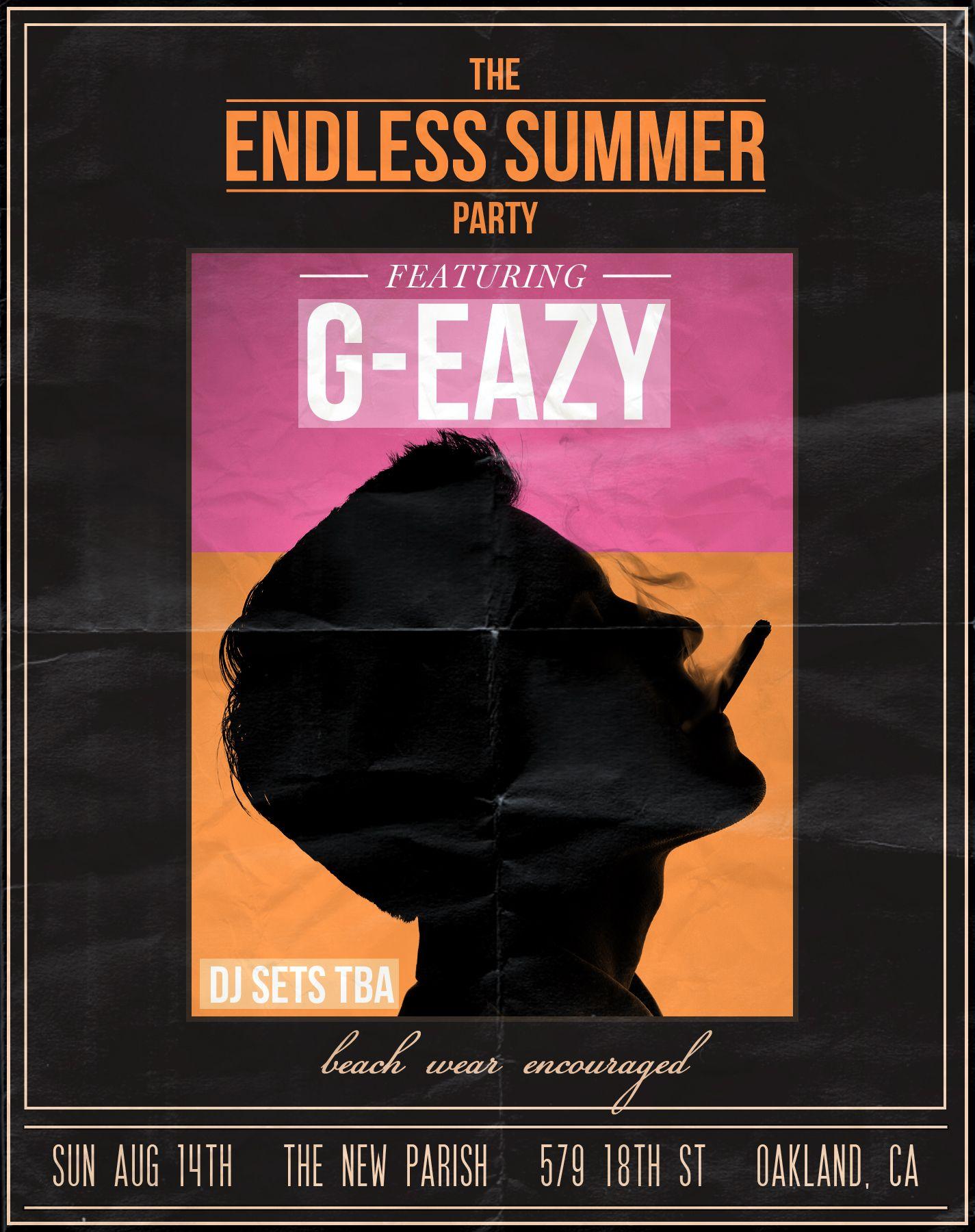 G Eazy Endless Summer Album And Poster Art G Eazy Music G