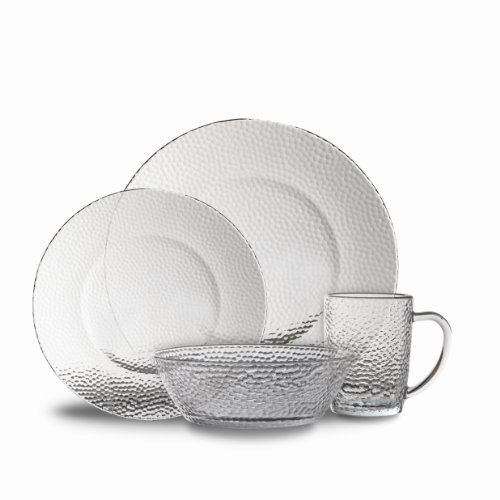 Gibson Riverina 16-Piece Dinnerware Set Clear Hammered Glass by Gibson Overseas Inc  sc 1 st  Pinterest & Gibson Riverina 16-Piece Dinnerware Set Clear Hammered Glass by ...