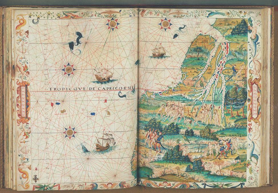 Portolano of South America's west coast. Anonymus, School of Dieppe. From an untitled atlas, Dieppe, c. 1538.  42 x 63 cm, manuscript on vellum.