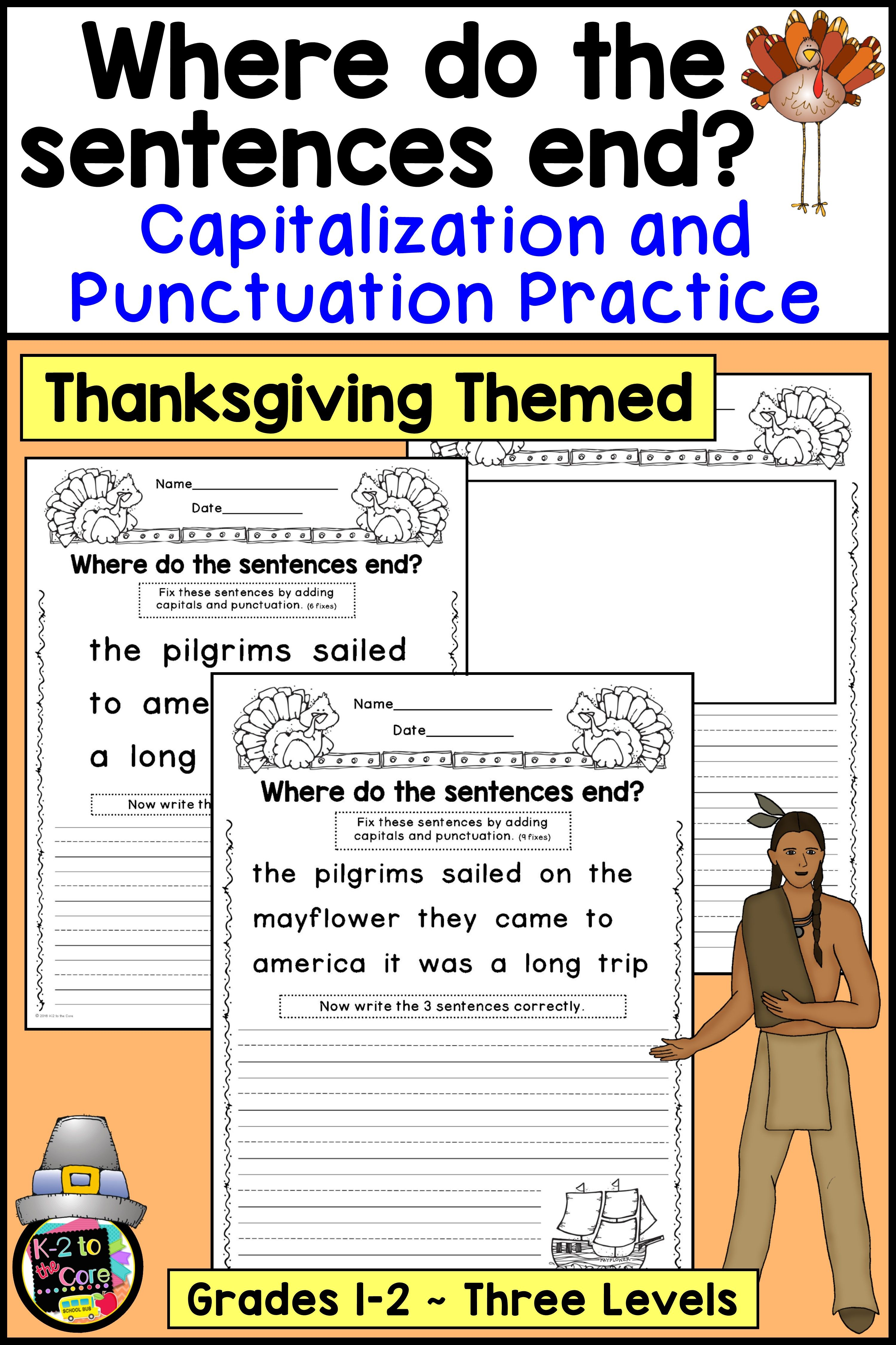medium resolution of Thanksgiving Writing Activity - Capitalization and Punctuation Practice for  1st and 2nd Gr…   2nd grade spelling words